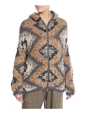 Brunello Cucinelli Zip-Front Folklore Hand-Knit Intarsia Jacket w/ Macro Paillettes