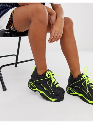 Buffalo london classic lowtop sneakers in black with neon piping