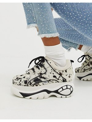 Buffalo london classic lowtop sneakers in white spotted pony