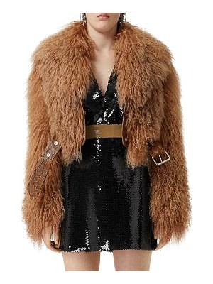 Burberry Arthington Mongolian Shearling Jacket with Python Print Belt