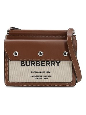 Burberry Baby title pocket canvas & leather bag