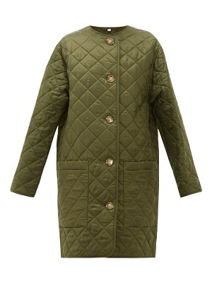 Burberry bardsey diamond-quilted collarless coat
