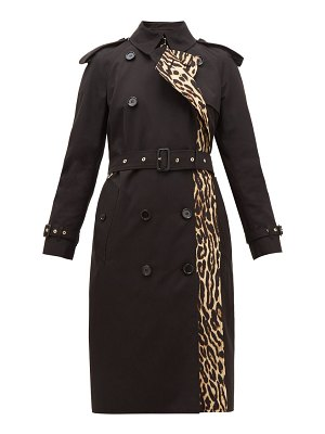 Burberry bridstow leopard-print cotton trench coat