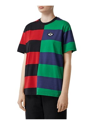 Burberry carrick embroidered logo rugby stripe tee