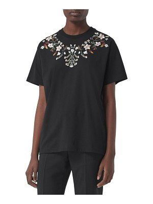 Burberry Carrick Floral-Embroidered T-Shirt