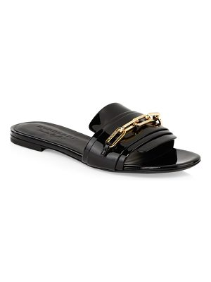 Burberry chain patent leather flat sandals