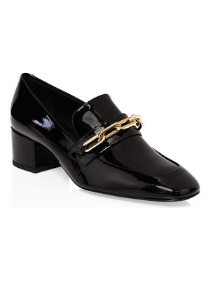 Burberry chain patent leather loafers