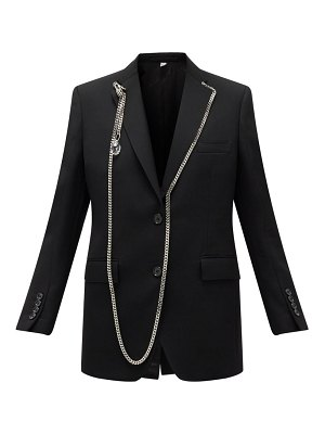 Burberry chain-trimmed single-breasted wool blazer