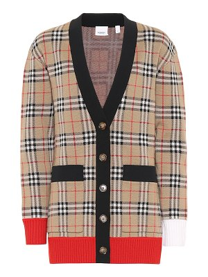 Burberry checked wool-blend cardigan