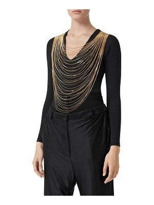 Burberry Chiers Golden Chain-Neck Jersey Bodysuit