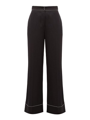 Burberry crystal-trimmed wide-leg silk trousers
