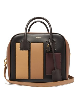 Burberry cube appliqué leather bowling bag