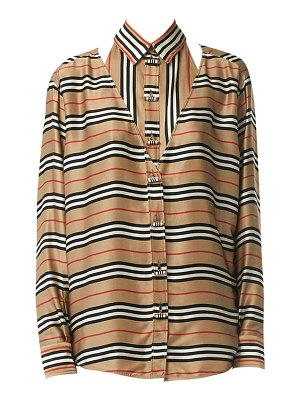 Burberry double striped silk blouse