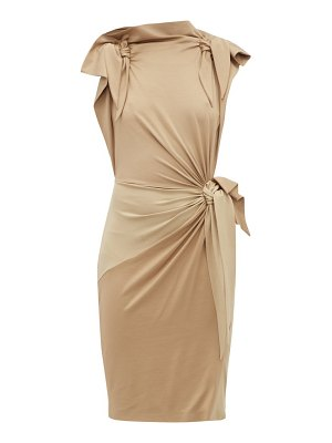 Burberry draped knotted stretch silk dress
