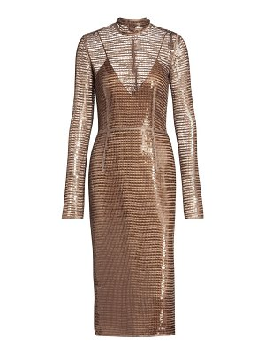 Burberry embellished mesh sequin cocktail dress