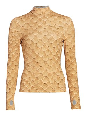 Burberry fish scale print stretch mockneck top