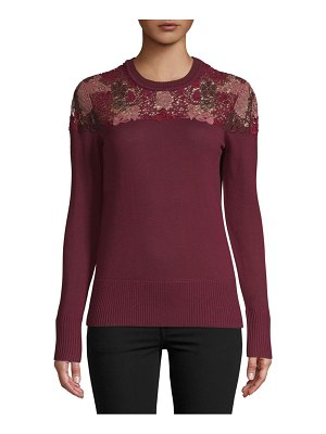 Burberry Floral Lace Wool Sweater