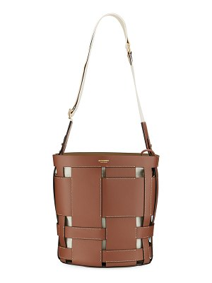 Burberry Foster Woven Smooth Bucket Bag
