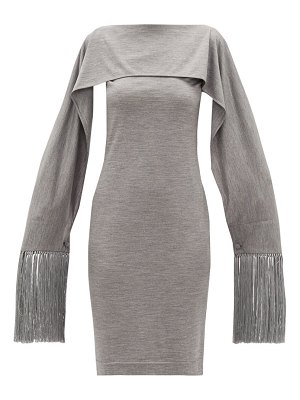 Burberry fringed-cuff merino-wool dress