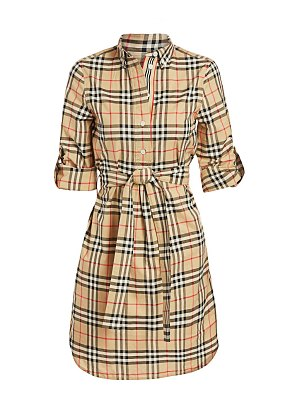 Burberry giovanna long sleeve belted check print dress