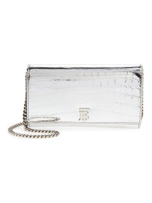 Burberry hannah croc embossed faux leather clutch