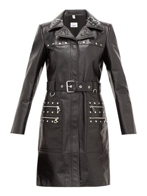 Burberry harewood leather trench coat