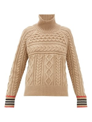 Burberry high-neck cable-knit cashmere sweater