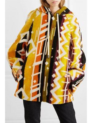 Burberry hooded printed shearling poncho