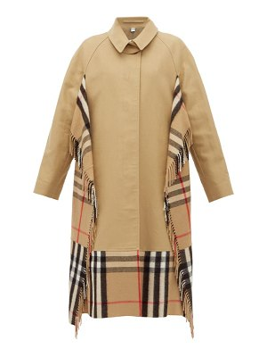 Burberry house check cashmere and cotton trench coat