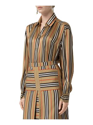 Burberry Icon-Striped Silk Button-Front Shirt