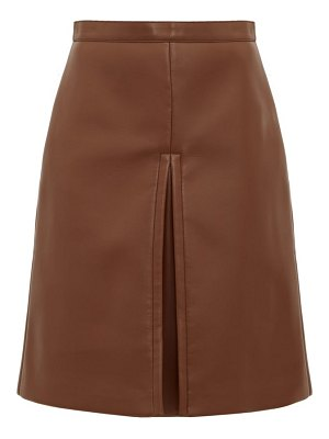 Burberry inverted-pleat faux-leather skirt