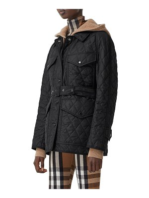 Burberry Kemble Quilted Field Jacket w/ Belt