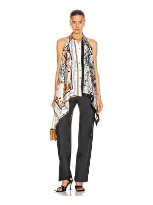 Burberry knit tank with printed silk panels