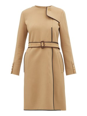 Burberry leather trim belted wool blend coat
