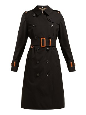 Burberry leather trimmed cotton gabardine trench coat