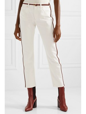 Burberry leather-trimmed mid-rise straight-leg jeans