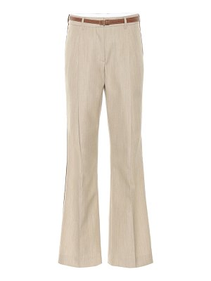 Burberry leather-trimmed wool pants