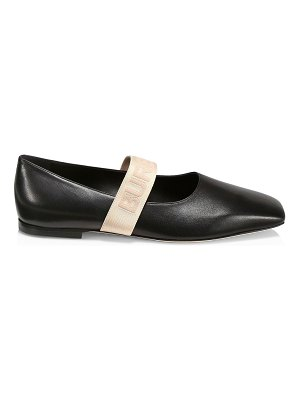Burberry logo strap leather ballerina flats