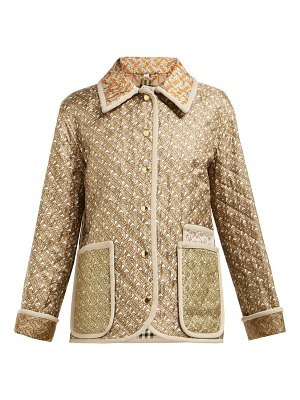 Burberry monogram print single breasted quilted silk jacket