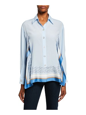 Burberry Monogram Print Trim Silk Boyfriend Shirt