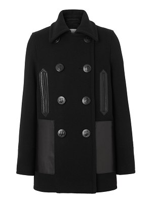 Burberry mossely leather-trim wool peacoat