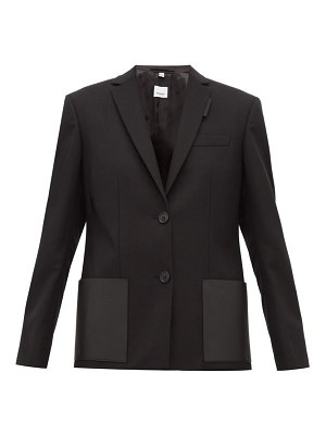 Burberry narbeth leather trimmed wool blazer