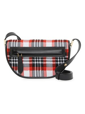 Burberry olympia tartan knit saddle bag