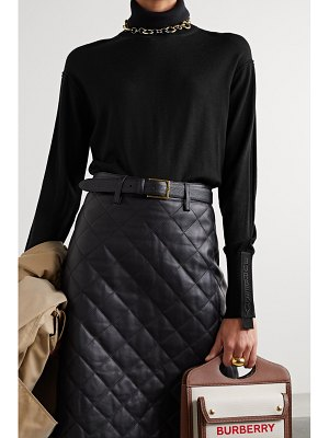 Burberry oversized embroidered canvas-trimmed merino wool and silk-blend turtleneck sweater