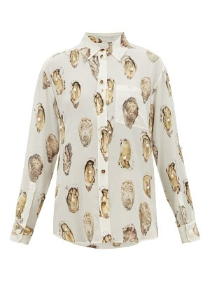 Burberry oyster print pearl embroidered silk blouse
