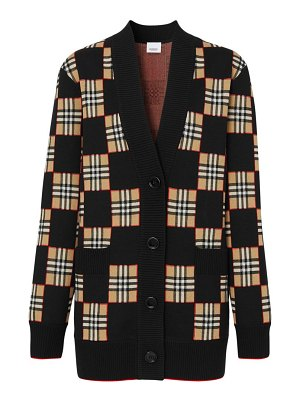 Burberry paislee checkerboard wool-blend cardigan