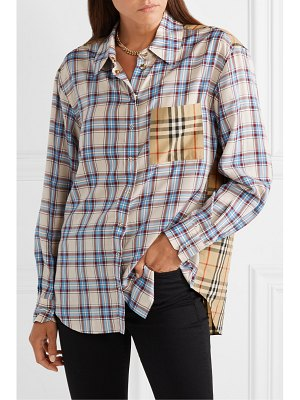 Burberry paneled checked lyocell and cotton-poplin shirt
