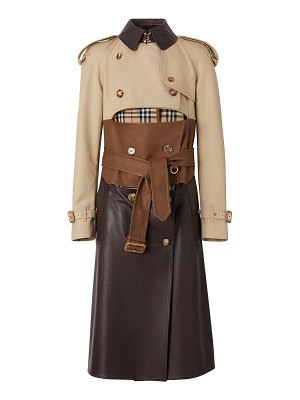 Burberry Patchwork Leather Trim Trench Coat