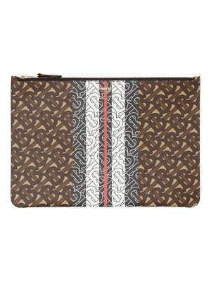 Burberry phyllis monogram stripe e-canvas clutch