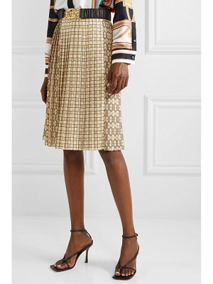 Burberry pleated printed satin midi skirt